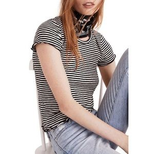 NWT Madewell Striped Lettuce Edge Baby Tee L